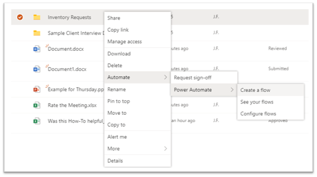 screenshot - creating a flow in SharePoint