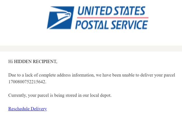 Example 2 spoofed USPS email